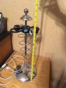 Contemporary, spiral style, silver metal tone desk lamp base, no shade