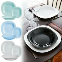 Luminarc Carine Square 18pc Opal Glass Dinner Set Dinnerware Tableware Plates