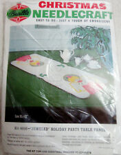 New listing Vintage Htf Mod Bucilla Angels Table Runner Kit Pink White Metallic Gold Mcm