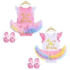 Toddler Baby Girls 1st Birthday Cake Smash Lace Short Sleeve Ruffle Romper Dress