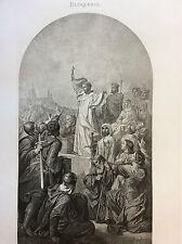 Saint Bernard prêche la 2ème croisade à Vezelay 1146 gravure XIX ème circa 1870