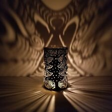 Christmas Luminary Candle Holder Lantern Torch Cut Can Angel Tree Shadow