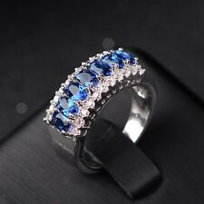 Women's Blue Sapphire Birthstone Gemstones Wedding EngagementRing Size 9 R21