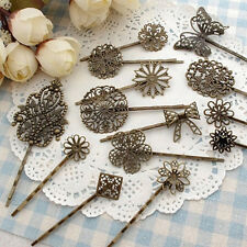 15pcs mixed Filigree Bobby Pin Blanks Antique copper color Flower Hair Pins Hair