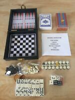 "Travel Game Set Includes ""Checkers, Chess, Dominoes, Backgammon, and Cribbage"""