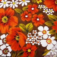"""Vintage 1960's MCM Floral Colored Textured Remnant Fabric 45"""" W x 48"""" L"""