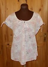 PER UNA white dusky pink floral short sleeve gypsy boho tunic blouse top 12 40