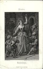 Stampa antica PLATEN Giovane donna e nani 1860 Old antique print Alte stich