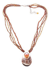 Coffee Brown & Copper Droplet Pendant/multi Strand Brown Necklace(Zx224)
