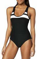 NWT Hurley Swim Black Block Party Racerback One-Piece Swimsuit Women's Size XL