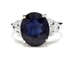 9.60Ct Natural Blue Sapphire & Diamond 14K Solid White Gold Ring