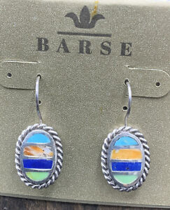 Barse Taxco Inlaid Oval Earrings-Sterling Silver- Mixed Stones -NWT