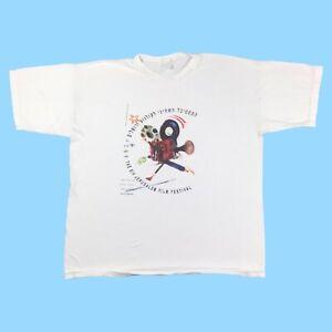 Israel Jerusalem Film Festival T Shirt 1991 XL Oversized White Vintage Hipster