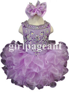 lilac Infant/toddler/baby  Pageant/formal  Dress G090 with hairbow&bloomer