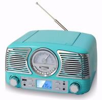 TechPlay QT62BT TR Retro Compact Stereo Bluetooth CD AM FM Radio Turquoise NEW