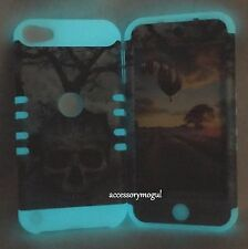 For iPod Touch 5th 6th Gen - Green Skull Tree GLOW IN THE DARK Hybrid Armor Case