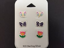 925 Sterling Silver Butterfly Dragonfly Flower Stud Earrings Studs Girls Women