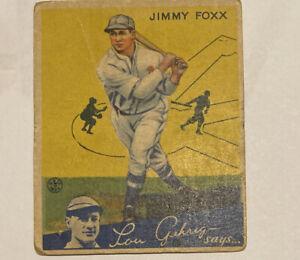 1934 GOUDEY JIMMY FOXX #1 Lou Gehrig Says Damaged