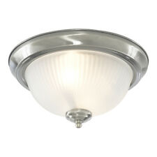 Searchlight 4042 2 Flush Ceiling Light + Ribbed Glass - Satin Silver