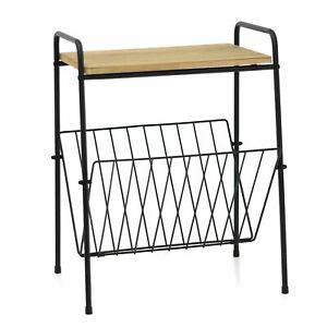Wooden Top Magazine Rack Side Table | Living Room End Table Book Storage Rack