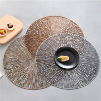 PVC Round  Hollow Placemat Heat Insulation Table Mat Non-slid Plate Cup Pot Pad