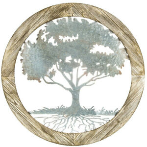 Rustic Round Tree Metal Wall Decor Wood Look
