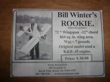 "Vintage Bill Winter'S ""Rookie"" Model Aircraft Plans"