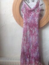 UK 14 Gina Bacconi  Designer 👩‍🎨 Embellished Pink Silk Floral Dress👗