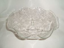 """Vintage New Martinsville Radiance Prelude Etched Round Footed Bowl Approx. 9"""""""