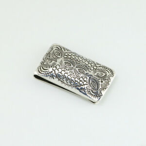 NATIVE AMERICAN NAVAJO STERLING SILVER MONEY CLIP BY SHIRLEY SKEETS