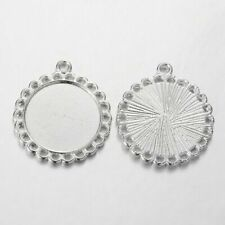 PC17 10pcs cabochon pendant bezel settings glass jewellery making craft UK