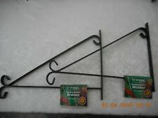 2 x 38cm GOOD QUALITY 15 Inch Metal Hanging Basket Bracket, COATED Black Steel
