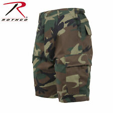 WOODLAND CAMO BDU Cargo Combat Shorts Button Fly Military Rothco 65212