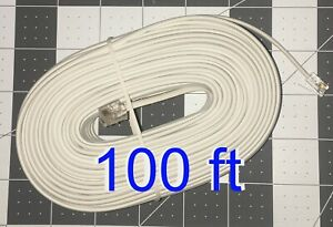 100' ft Telephone Extension Cord Phone Cable RJ-11 4 Wire Line Jacks White AD321