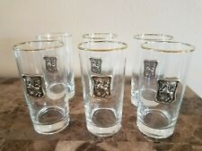 Vintage Highball Tumblers Gold Rim Drinking Glasses with Unicorn Emblem 6 Set
