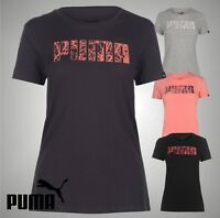 Ladies Genuine Puma Lightweight Casual Big Logo QT Stretchy T Shirt Size 8-16