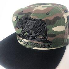 Pit Bull men's green camouflage California Republic flat bill snap back cap hat