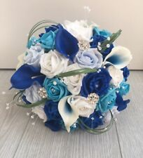 ARTIFICIAL WHITE BLUE CALLA LILY ROSE WEDDING BRIDE BROOCH PEARL BOUQUET FLOWERS