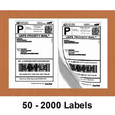 50 2000 Half Sheet Blank Shipping Labels 85x55 Self Adhesive 2 Per Sheet Ups