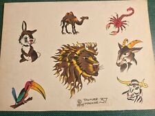 Vintage Hand Colored Picture Machine Tattoo Flash Art Sheet #37 1975 LION
