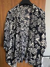Next Black And Cream Floral Print Kimono Size L