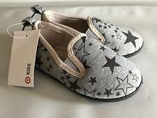 BNWT Little Boys Sz 6 Target Brand Grey Stars Print Slip On Style Cute Slippers