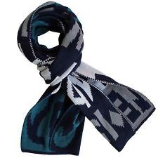 Bufanda Para Hombre Punto Verde Azul Grueso Negro Gris Doble Tejido Lana Ski XL