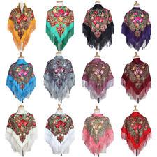 Russian Style Big Size Square Scarf Cotton Long Tassel Vintage Women Shawl