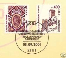 BRD 2001: castillo Kirchheim + Wartburg! SWK nº 2210+2211! bonner sello! 1a 1510