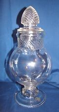 "Columbia Swirl 11"" Footed Globe Glass Apothecary Candy Jar"