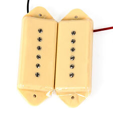 P90 Soapbar Single Coil Bridge And Neck Pickups Dog Ear Style Cream Ivory Set