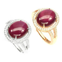 Oval Red Ruby 12x10mm White Cubic Zirconia 925 Sterling Silver Adjustable Ring