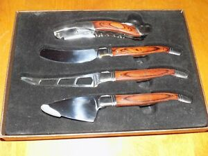 LAGUIOLE 4-Piece Wine & Cheese Set Stainless Steel Pakka Wood Accent Handles NEW