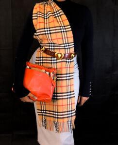 Burberry Vintage Check Nova Tassel Cashmere Wool Long Scarf 71x12inch RRP£349 Z2